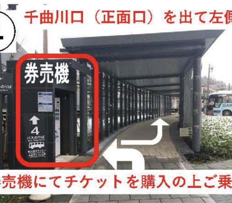 野沢温泉ライナー飯山駅での乗り場案内(4)千曲川口(正面口)を出て左側が券売機